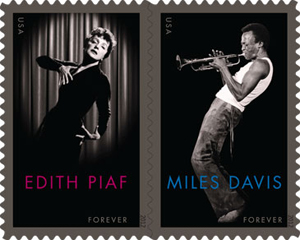 Edith Piaf and Miles Davis Forever Stamp
