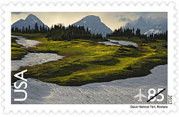 Glacier National Park stamp, 85 cent Canada, Mexico rate stamp
