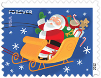 Santa and Sleigh 2012 U. S. Postage Stamps
