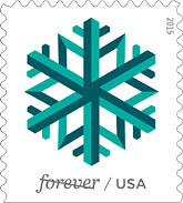 Geometric Snowflake Forever Stamps, USPS, Issue Date is October 23, 2015, New York City