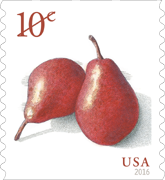 USPS 10-cent pear stamp 2016