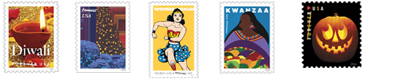 Jack-O'-Lanterns Forever Stamps, Kwanzaa Holiday Forever Stamp, Festival of Diwali Forever Stamp, Holiday Windows Forever Stamps, and Wonder Woman Forever Stamps