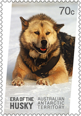Era of the Husky Stamp, 70 cents, Australian Antartic Territory 2014