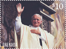 Pope John Paul Stamp - souvenir sheet commemorating the canonization of Pope John Paul II as a saint on April 27, 2014