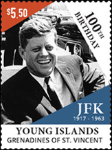 JFK John F. Kennedy Stamp, Grenadines of St. Vincent