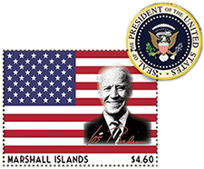 President Biden on Marshall Island stamp from IGPC 2020