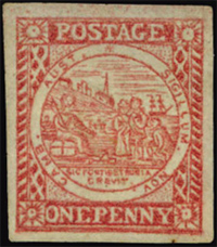 1850 Sydney View One Penny Carmine Stamp
