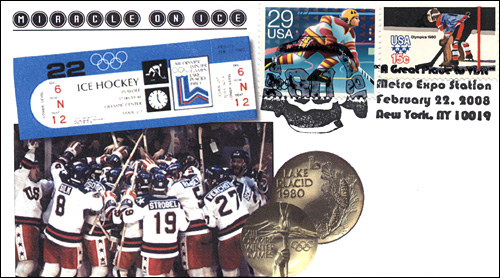 MetroExpo NY, Miricle On Ice, Full-Color Cover featuring Skater and Olympic Goalie Stamp