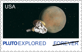 Stamp News Publishing's version of the Pluto stamp as it would appear if issued today.