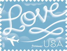USPS Love stamp 2017, Skywriting Love stamp