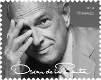 Oscar de La Renta stamp of model in green gown - USPS 2017 forever stamp