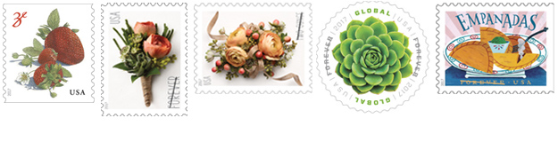 USPS Stamps 2017 - Strawberries Stamp, Corsage Stamp, Boutonniere Stamp, Green Succulent Stamp, Delicioso Stamps
