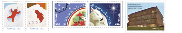 Snow Day Forever Stamps, Christmas Carol Stamps, African American Musem Stamp