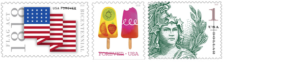 USPS June stamp release include Flag Act of 1818 Stamps, Frozen Treat Stamps, Statue of Freedom Stamps