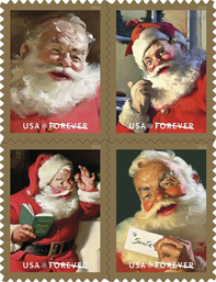 USPS Sparkling Holiday Santa Stamps 2018