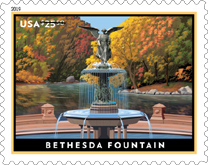 USPS - Bethesda Fountain Stamp, 2019, Priority Express Mail Stamp
